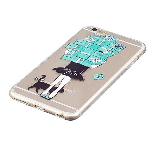 iPhone 6 Plus Hülle, Voguecase Silikon Schutzhülle / Case / Cover / Hülle / TPU Gel Skin für Apple iPhone 6 Plus/6S Plus 5.5(Lila-Kleid-Mädchen 01) + Gratis Universal Eingabestift Geschenk Mädchen