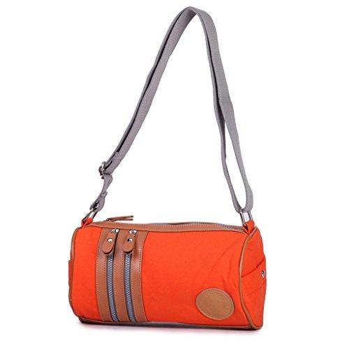 Eshow Damen Canvas Freizeit Sport Umhägentasche Schultertasche Taschen Orange