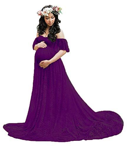 Deep Purple Dress (ASKEN Damen Mutterschaft Kleid Fotografie Aus Schulter Spitze Böhmischen Schwangerschaft Maxi Kleid Deep Purple 2XL)