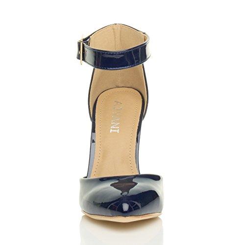 61d9de426ae19 ... Femmes haute large talon boucle lanière pointu escarpins chaussures  pointure Verni bleu foncé marine