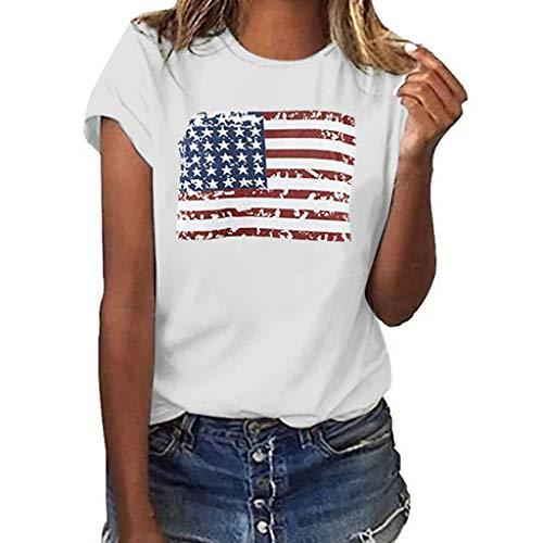 MOTOCO Damen T-Shirt Kurzarm Top O Ausschnitt Animal Druck & Independence Day Merica Hemdbluse(2XL,Weiß-3)