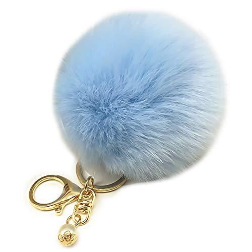 DIYOO Schlüsselbund Fluffy Schlüsselbund Puffer Balls Schlüsselanhänger Taschenanhänger Handy Charm Bag Anhänger Schlüsselanhänger 8cm Hellblau