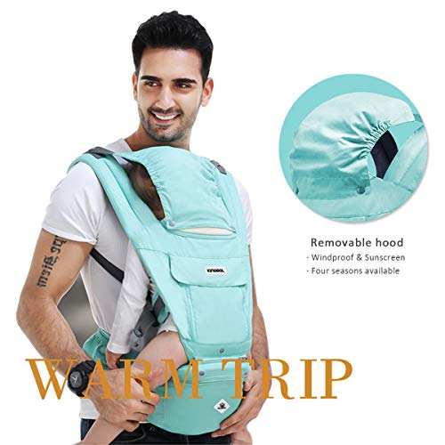 SONARIN Multifunctional Hipseat Baby Carrier,Breathable Straps, Ergonomic, 100% Cotton, Large Capacity Storage,11 Carrying Positions,Adapted to Your Child's Growing,Ideal Gift(Light Green)  SONARIN