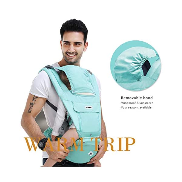 SONARIN Multifunctional Hipseat Baby Carrier,Breathable Straps, Ergonomic, 100% Cotton, Large Capacity Storage,11 Carrying Positions,Adapted to Your Child's Growing,Ideal Gift(Light Green) SONARIN  5