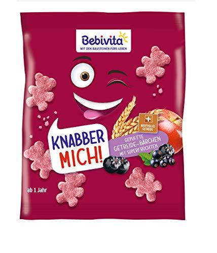 Bebivita Knabberprodukte, Knabber Mich Getreide-Bärchen mit Superfrüchten, 9er Pack (9 x 30 g)
