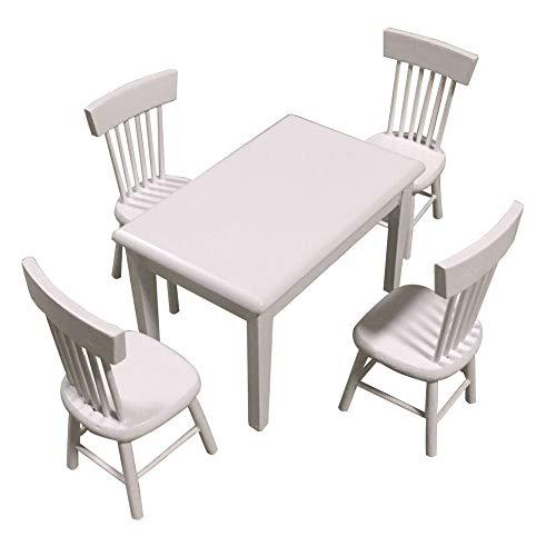 21sandwhick Puppenhaus Zubehör - Puppenhaus Möbel, 5 Teile/Satz Puppenhaus Mini Möbel Esstisch Stuhl Set Spielzeug Modell Dekor Weiß (Modernen Weißen Esstisch Satz)