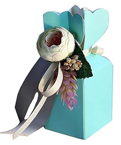 20pcs style européen de mariage Bonbonnière Soiree anniversaire boîte-cadeau, Bleu