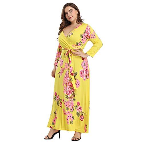 COOKDATE Plus Größe Damen Floral Maxikleid mit V-Ausschnitt Damen Langarm-Partykleid Kragen Gelb M -