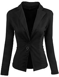 Mujer Blazer Invierno Otoño Elegante Casual Ejecutiva Negocios Oficina Slim  Fit Trajes Chaquetas Manga Larga De eac745311c37