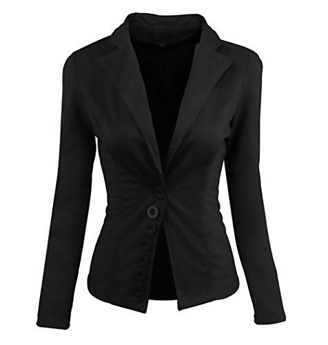 Tailleur donna bolero elegante slinky autunno inverno manica lunga pulsante ufficio business casual giacca cardigan blazer top puro colore vita alta