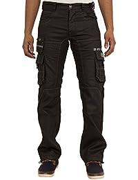 ENZO Hommes Enduit Noir Droit Ajusté Jeans Cargo Combat Pantalon Tour De Taille 28-42