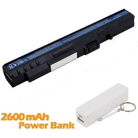 Battpit Batteria per notebook Acer Aspire One A150-1995 (2200mah / 24wh ) Corredato di 2600mAh Power Bank / Batteria Esterna (bianco) per