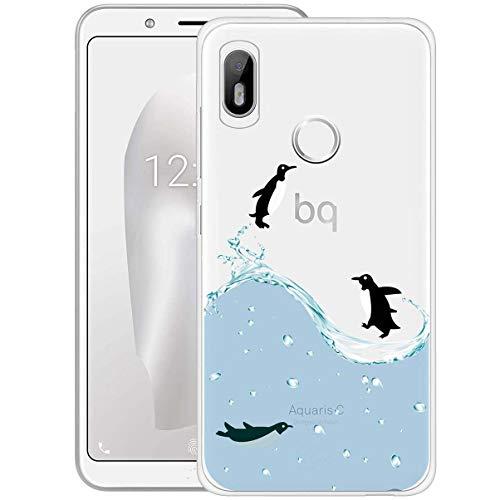 ocketcase BQ Aquaris C (5,45 Zoll) Hülle, TPU Schutzhülle Tasche Case Cover Kratzfest Weich Silikon Schutz Shell Flexibel Gel Bumper für BQ Aquaris C (Pinguin) + Gratis Universal Eingabestift