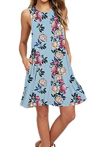 OMZIN Damen Winter Herbst Lose Swing Leger Basic Taschen Kleid Kleid für Damen Loose Strandkleid,Himmelblau,M