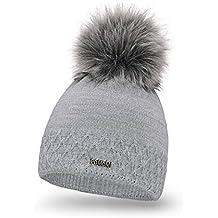 2dbe177a041f PaMaMi® Chapeau d hiver pour Femme en Tricot Chaud avec Pompon Bonnet à  Pompon