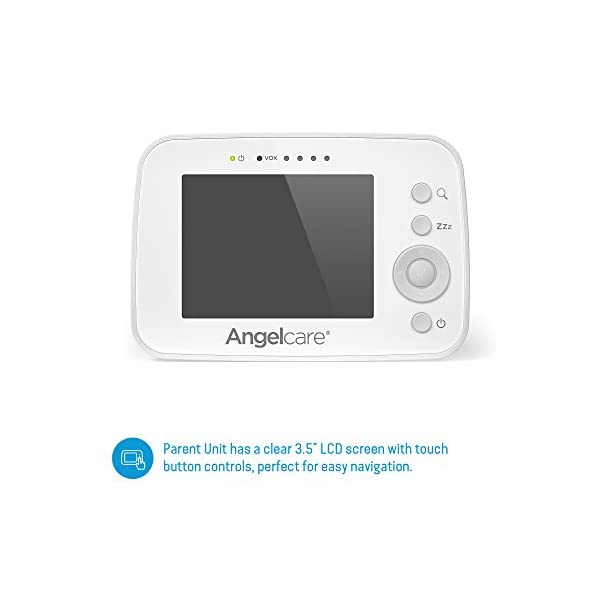 """Angelcare AC215 Baby Movement Monitor, with Video Angelcare Portable parent unit with 3.5"""" lcd colour display Wired under-the-mattress movement sensor pad Movement and room temperature alerts 9"""