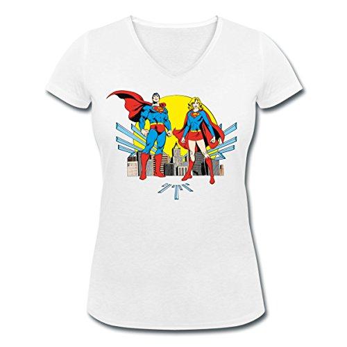 DC Comics Originals Superman Supergirl Rétro T-shirt col V Femme de Spreadshirt® Blanc
