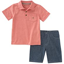 Calvin Klein Baby Boys 2 Pieces Polo Shorts Set, Orange, 2M