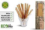 ECOlike® 12er Pack Bambus Strohhalme wiederverwendbar nachhaltig + Reinigungsbürste Mehrweg Öko Trinkhalme 100% biologisch ab