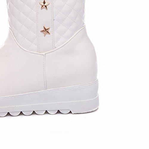 MissSaSa Donna Stivaletti col Tacco Elegante Inverno Boots Bianco