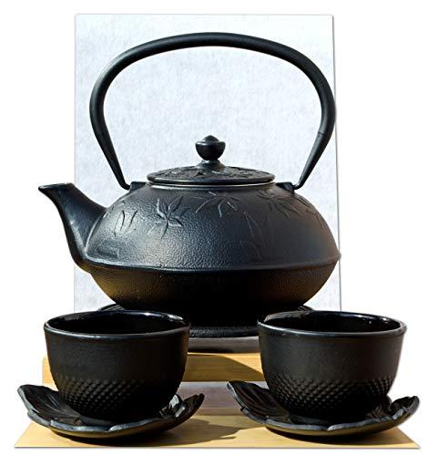 Cups Feuille Dessous de Théière en Fonte d'inspiration japonaise avec repose-théière et feuille d'érable noir style japonais Théière 1 L