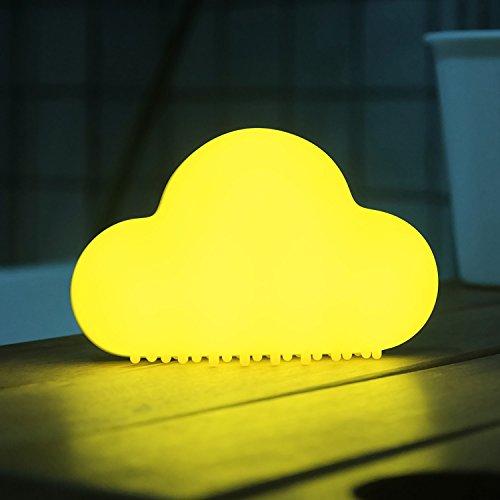 Mini nube bonita luz de noche romántica LED, control de sonido automático y magnético suave Silion Dimmable lámparas de cabecera recargable luces de nubes LED para los niños Dormitorio, cuarto de niños, baño, cocina, blanco cálido (amarillo)