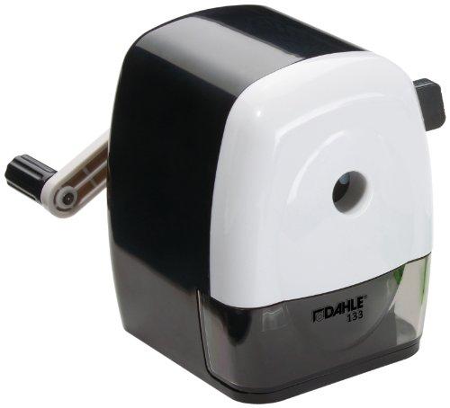 Dahle 00133-02036 Taille-crayon mécanique 133, pour crayons jusqu'à 11,5 mm de diamètre, avec étrier de fixation (Noir/blanc)