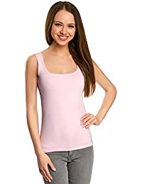 oodji Collection Donna Top in Tessuto Elastico a Spalline Larghe