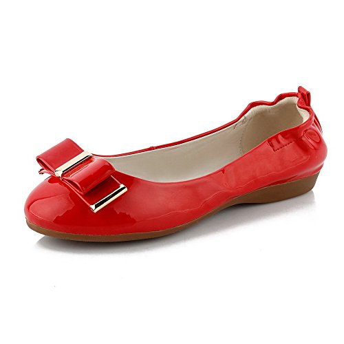 VogueZone009 Damen Ziehen Auf Rund Zehe Niedriger Absatz Pu Leder Eingelegt Pumps Schuhe Rot
