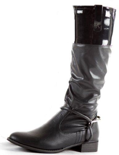 shoeFashionista - Zapatos De Mujer Botas Planas Motorista Tamaño 36 - 41