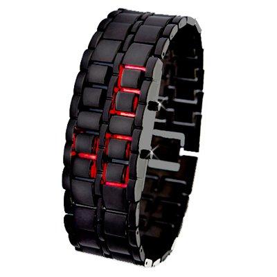 Iron Samurai - Japanese Inspired Red LED Orologio (Black)