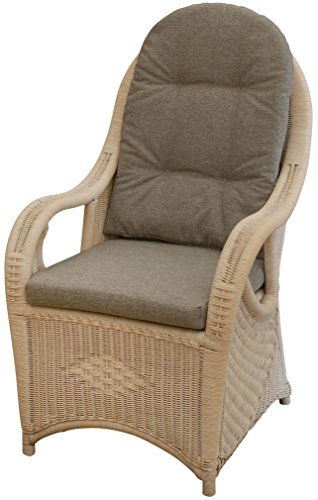 Eleganter Hochlehn-Sessel mit extra hoher Rückenlehne / Korbsessel aus echtem Rattan (Vintage Weiss)