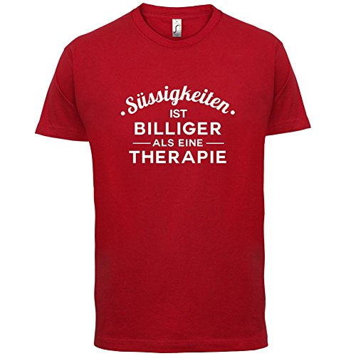 Süssigkeiten ist billiger als eine Therapie - Herren T-Shirt - 13 Farben Rot