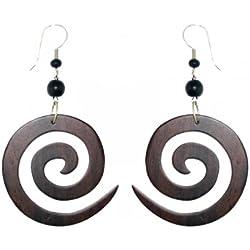 Chic-net tribal aretes de madera de sono, espiral, acero inoxidable servicio, studs, pendientes