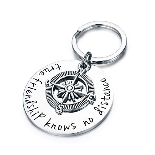 Tclothing Best Friend Keyring - True Friendship Knows No Distance Compass Keyring Long Distance Relationship Gifts -
