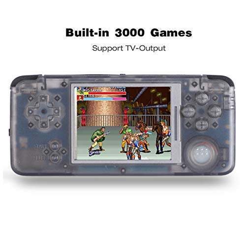 ANBERNIC Consolas de Juegos Portátil , Consola de Juegos Retro Game Console 3.0 Pulgadas 3000 Juegos TV-Output Videojuegos Portátil - Transparent Negro