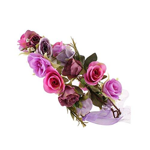 2 Stücke Handgemachte Blume Stirnband Floral Garland Crown Kopfschmuck Dekorative Kranz für Festival Hochzeit Geburtstag Party (Lila) (Blumen-stirnband Crown)