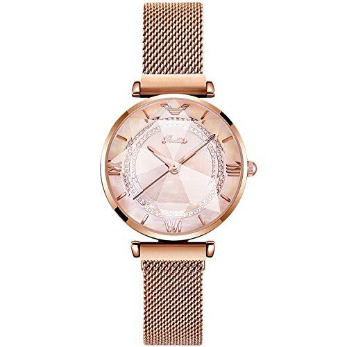 RORIOS Damen Uhr Armbanduhr Damen Diamant Dial Armbanduhren für Damen Mesh Armbanduhr Women Watch Armbanduhren Frauen