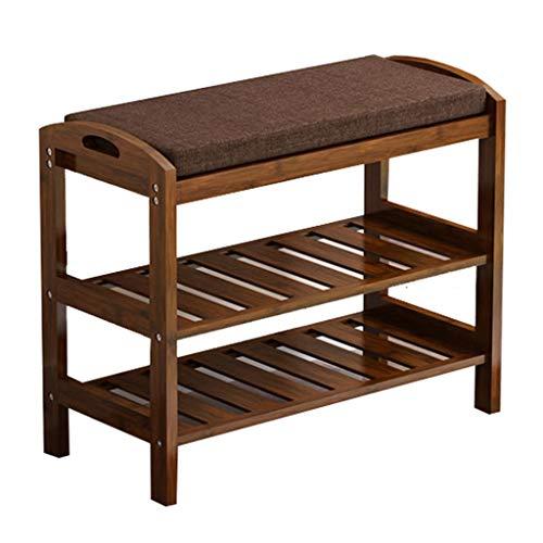 Gwf scarpiera in legno di colore noce con panca per ingresso porta corridoio 2 livelli, scaffale rustico stand scaffale può sedersi scarpiera panchina scarpa spugna nan bambù porta semplice per cambia