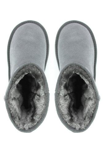 Bottes fourrées gris en cuir nubuck Gris