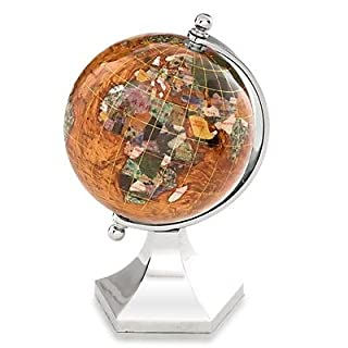 KALIFANO 4 Gemstone Globe with Copper Amber Opalite Ocean with Bright Silver Contempo Stand