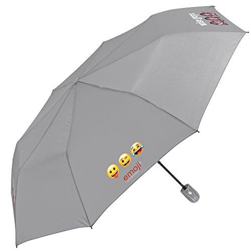 Emoji Schirm Perletti - automatischer Regenschirm - Herren/Damen Taschenschirm, leicht und klein, passt in den Rucksack / die Tasche grau mit Emojis - Automatikschirm - Durchmesser 96 cm (Grau)