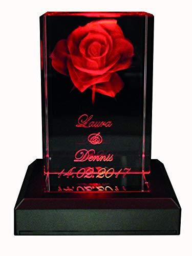 Rosen Lampe (VIP-LASER 3D Glas Kristall Quader XL Rose mit zwei Wunschnamen + Datum im Hochformat Weihnachten!, Beleuchtung:mit Color Leuchtsockel 5 LED Schwarz)