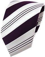 TigerTie Satin Krawatte lila dunkellila weiß silber gestreift - Schlips Binder Tie