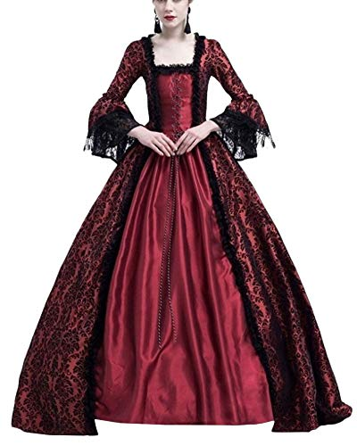 PengGengA Damen Mittelalter Kleider Glocke Ärmel Viktorianischen Königin Kleid Cosplay Kostüm Langarm Gothic Jahrgang Prinzessin Renaissance Bodenlänge Burgunderrot L (Kleid Hochzeit Halloween-themed)