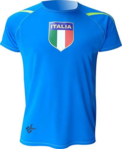 Ekeko ITALIA, camiseta manga corta, para running, atletismo y deportes en general, muy transpirable y ligera (L)