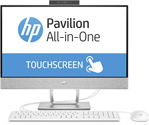 HP Pavilion 24-x055ng 60,45 cm (23,8 Zoll Full HD-IPS Touchscreen) All-in-One Desktop PC (Intel Core i3-7100T, 8GB RAM, 1TB HDD, 128GB SSD, Windows 10 Home 64) weiß