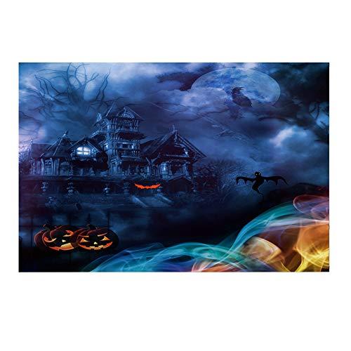 Halloween mysteriösen Hintergrund rot Vollmond Wolf Zombie Schädel Fledermäuse Spuk Gebäude Horror Foto Requisiten Halloween Party Portrait Tür Photoshoot Booth Spooky Masquerade Decor 3x5FT