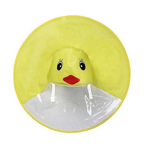 inder Regen Poncho für Jungen Mädchen Cartoon Wasserdicht Kind Kapuzen Regenjacke Regen Slicker Outdoor Regen Cape Gelbe Ente für Jungen und Mädchen Unisex (Gelb, M) ()