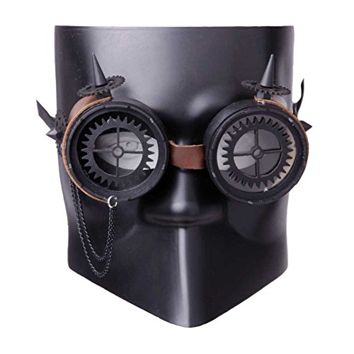 GEEKINVADER Venezianische Steampunk Maske mit Zahnrädern Katzenmaske mit Binokular Halbes Gesicht mit Zahnrädern über 14 Modelle (Teufels Damen Kostüm Ideen Make Up)